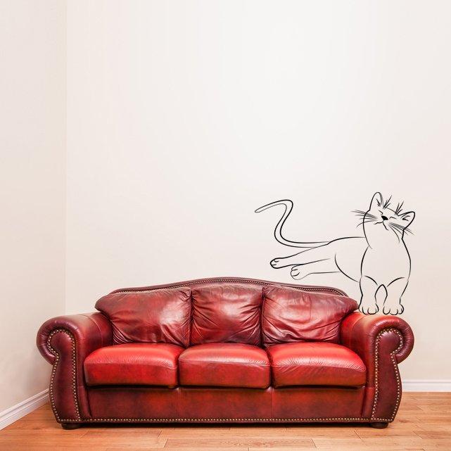 (28''x21'') Vinyl Wall Decal Cute Relaxed Cat Kitten Silhouette Art Decor Sticker + Free Decal Gift!