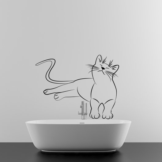 (55''x42'') Vinyl Wall Decal Cute Relaxed Cat Kitten Silhouette Art Decor Sticker + Free Decal Gift!