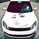 (16''x15'') Vinyl Wall Decal Womens Elegant Face Silhouette Art Decor Sticker + Free Decal Gift!