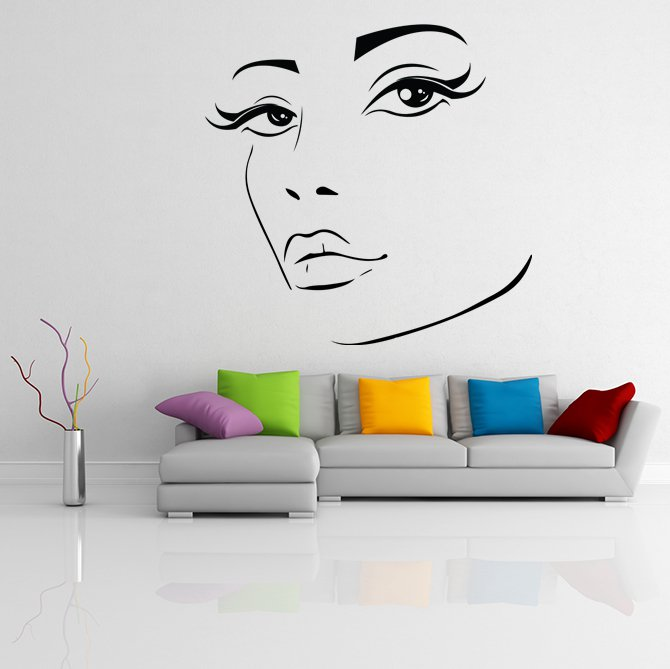 (31''x31'') Vinyl Wall Decal Womens Elegant Face Silhouette Art Decor Sticker + Free Decal Gift!