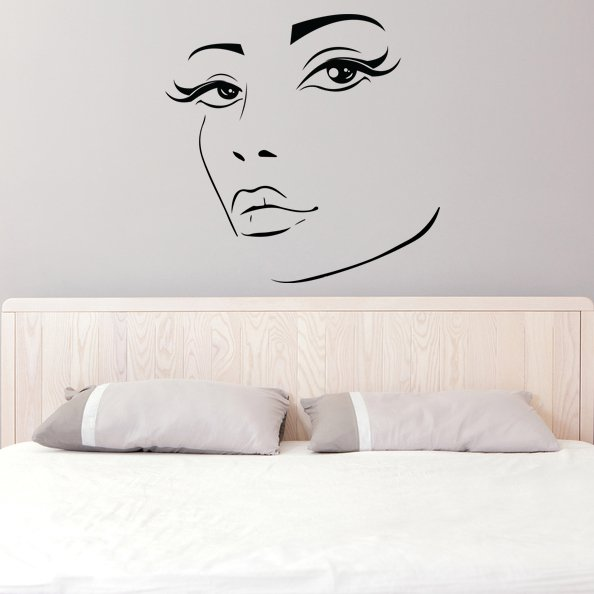(39''x39'') Vinyl Wall Decal Womens Elegant Face Silhouette Art Decor Sticker + Free Decal Gift!