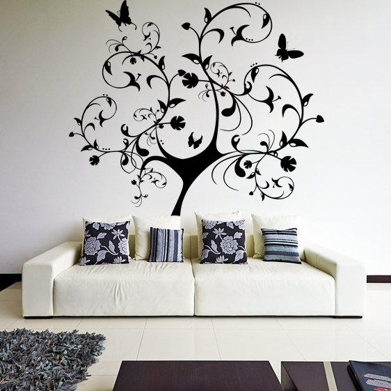 (29''x31'') Vinyl Wall Decal Huge Tree With Butterflies & Leaves Decor Sticker + Free Decal Gift!