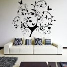 (33''x35'') Vinyl Wall Decal Huge Tree With Butterflies & Leaves Decor Sticker + Free Decal Gift!