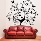 (36''x39'') Vinyl Wall Decal Huge Tree With Butterflies & Leaves Decor Sticker + Free Decal Gift!