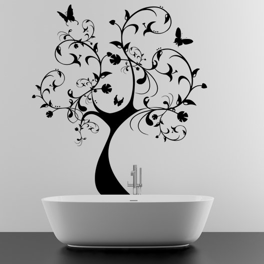 (65''x71'') Vinyl Wall Decal Huge Tree With Butterflies & Leaves Decor Sticker + Free Decal Gift!
