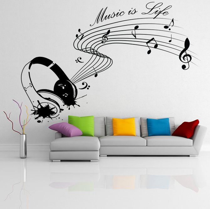(31''x21'') Vinyl Wall Decal Quote Music is life with Headphones / Decor Sticker + Free Decal Gift!