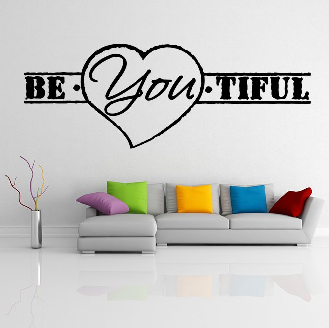 (31''x12'') Vinyl Wall Decal Quote Be*You*tiful, Heart Shape / Art Decor Sticker + Free Decal Gift!