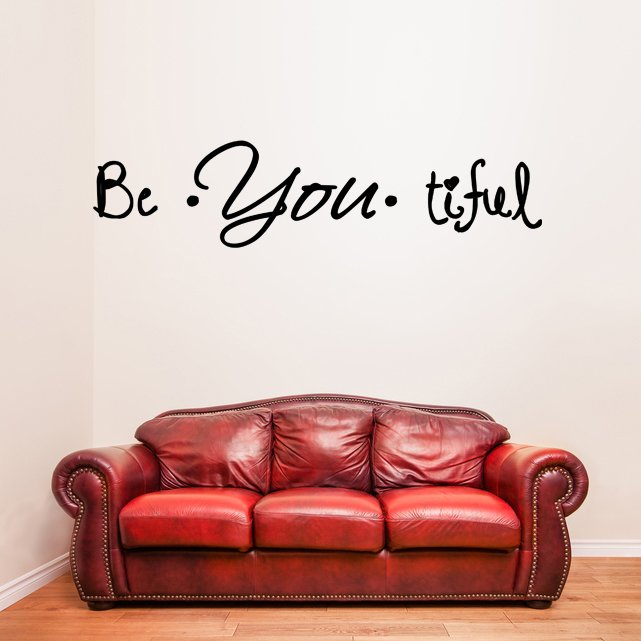 (39''x11'') Vinyl Wall Decal Quote Be*You*tiful / Inspiration Art Decor Sticker + Free Decal Gift!