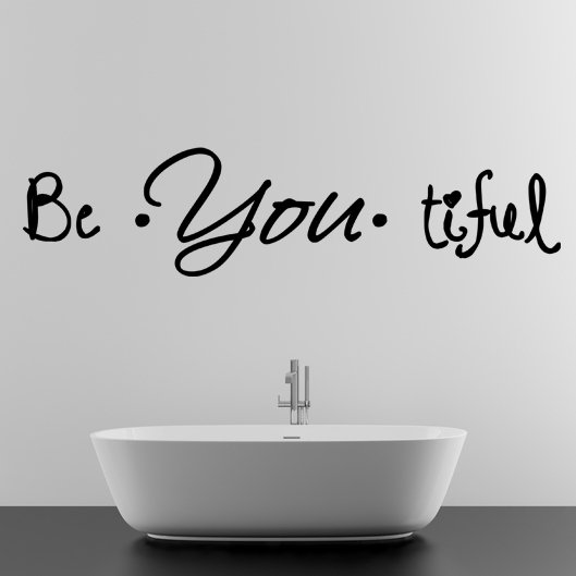 (55''x15'') Vinyl Wall Decal Quote Be*You*tiful / Inspiration Art Decor Sticker + Free Decal Gift!