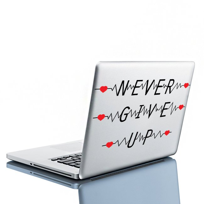 (8''x5'') Vinyl Wall Decal Quote Never Give Up with Heart Pulse / Decor Sticker + Free Decal Gift!