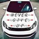 (16''x9'') Vinyl Wall Decal Quote Never Give Up with Heart Pulse / Decor Sticker + Free Decal Gift!