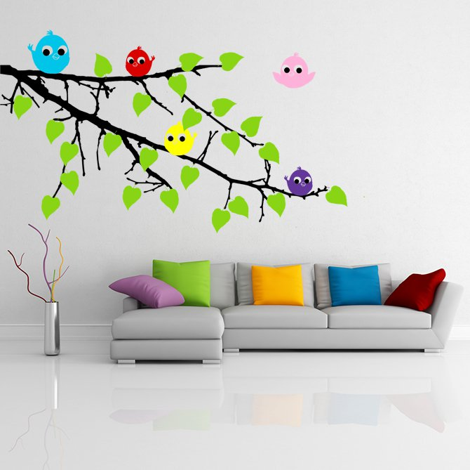 (28''x18'') Vinyl Wall Decal Tree Branch with leaves and Colorful Birds Sticker + Free Decal Gift!