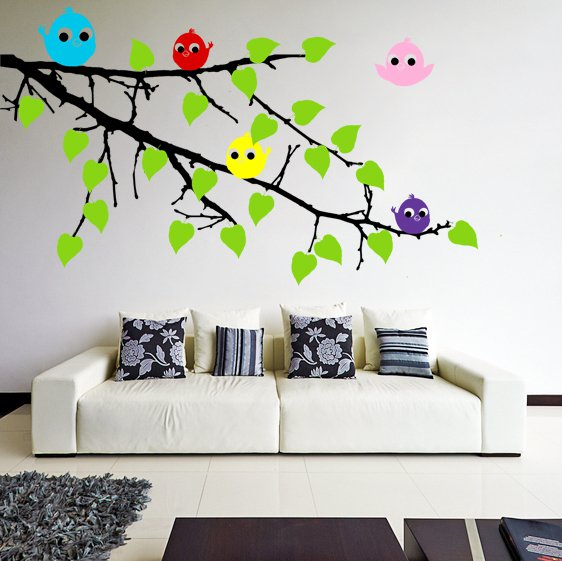 (35''x24'') Vinyl Wall Decal Tree Branch with leaves and Colorful Birds Sticker + Free Decal Gift!