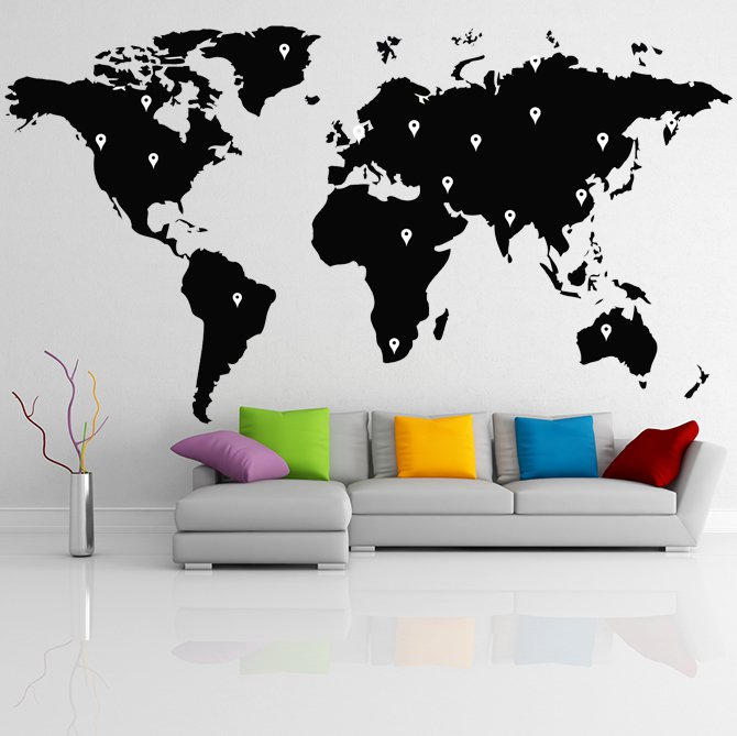 (47''x26'') Vinyl Wall Decal World Map with Google Dots / Art Decor Home Sticker + Free Decal Gift!