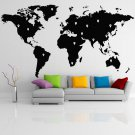 (55''x30'') Vinyl Wall Decal World Map with Google Dots / Art Decor Home Sticker + Free Decal Gift!