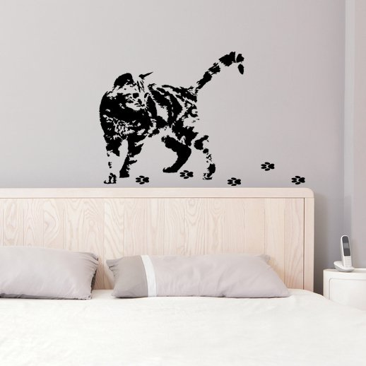 (31''x29'') Vinyl Wall Decal Cute Cat Silhouette with Steps / Art Decor Sticker + Free Decal Gift!