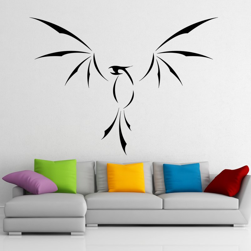 (28''x20'') Vinyl Wall Decal Phoenix With Open Wings / Fire Bird Decor Sticker + Free Decal Gift!