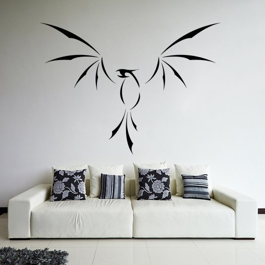 (31''x23'') Vinyl Wall Decal Phoenix With Open Wings / Fire Bird Decor Sticker + Free Decal Gift!