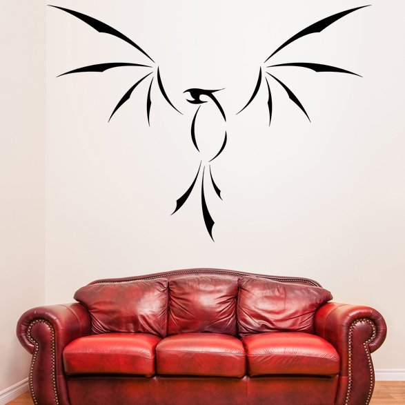 (35''x26'') Vinyl Wall Decal Phoenix With Open Wings / Fire Bird Decor Sticker + Free Decal Gift!