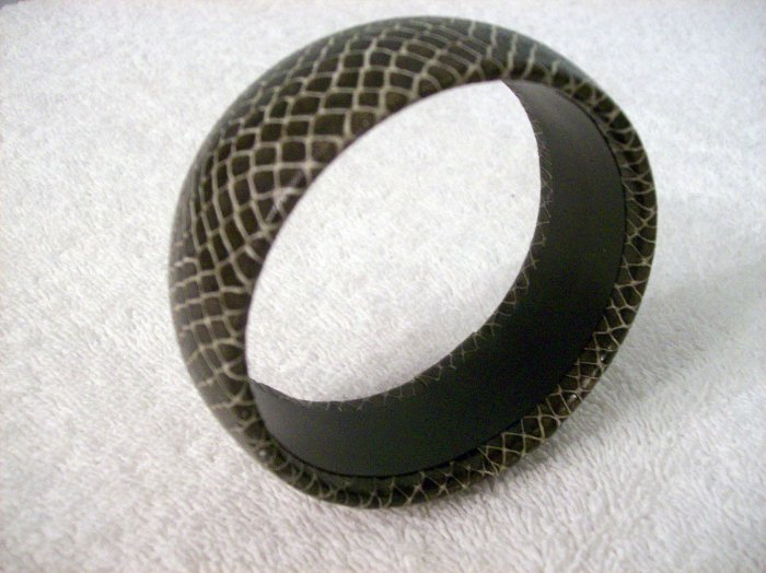 Black Bangle With Snake Skin Look