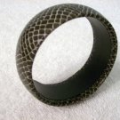 Black Bangle With Snake Skin Look
