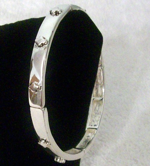 Stretch Silver Tone Bracelet With Fancy Cross Accents