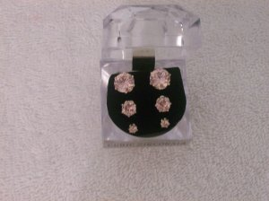 3-pc Pink Cubic Zirconia Studs