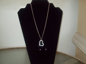 Heart Necklace With Pendant And Earring Set