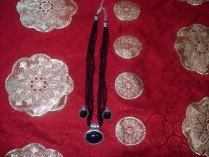 Black Beaded Necklace with Pendant and Earrings