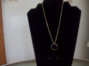 Monet Jet Black/Goldtone Necklace with Earrings