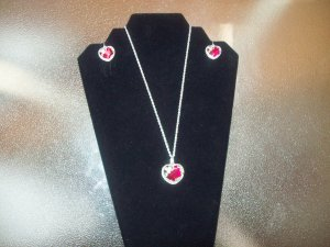 Silver and Red Heart Necklace with Pendant and Dangling Earrings
