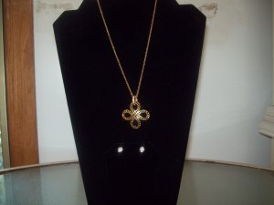 Nine West Goldtone Necklace with Jet Black Crystals and Cubic Zirconium Earrings