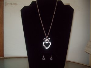 Guess Sterling Silver Necklace with Heart Pendant and Guess Earrings