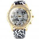 Batti Diamond Ladies Leopard Round Dial Leopard-print Leather Strap