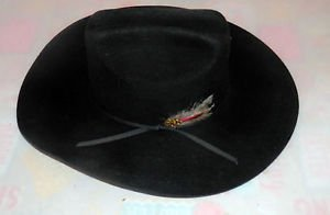 Men's Black DynaFelt water repel Fur Blend Cowboy Hat sz 6 5/8 by BUCK N BUM!!