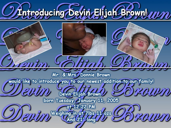 Birth Announcement featuring...