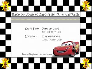 Lightning McQueen Birthday Invitation