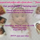 Vanity Birthday invite with Checkered Purple Background