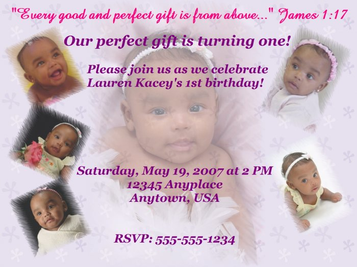 Vanity Birthday Invite with Purple Floral Background