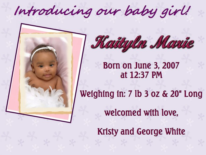 Purple Floral Birth Announcement