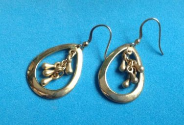 "PRETTY DANGLING HANGING GOLD TONE PIERCED EARRINGS 1 5/8"" X 3/4"", UNUSUAL DESIGN"