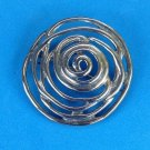 "VINTAGE 2"" LARGE UNMARKED SILVER TONE CIRCLE SWIRL PIN. MODERNIST DESIGN"