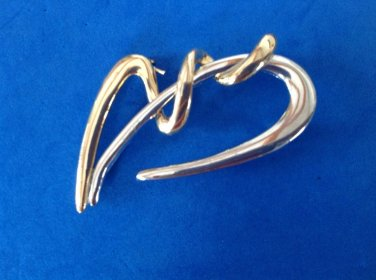 """STATEMENT PIECE !! GOLD AND SILVER TONE FLOWING DESIGN LARGE PIN 2 1/4"""" X 2"""""""
