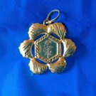 LARGE CUT METAL GOLD OVER STERLING SILVER PENDANT. PRETTY FLOWER DESIGN