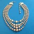 "VINTAGE ""JAPAN"" GRADUATED LT. - DK. PINK 4 STRAND FAUX PEARL NECKLACE 16"" X 1/2"""