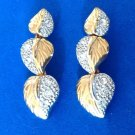 ELEGANT GOLD & SILVER TONE TEXTURED 3 LAYER DANGLE PIERCED EARRINGS CLEAR STONES