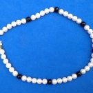 "VINTAGE TRIFARI STRAND OF WHITE WITH BLACK PEARLS CHOKER NECKLACE 15"" LONG"