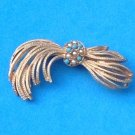 VINTAGE FEMININE GOLD TONE FLOWING DESIGN PIN WITH TURQUOISE & PEARL ACCENT 2.5""