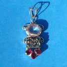 "ARTIST MADE UNMARKED SILVER SEMI PRECIOUS STONES 2 1/2"" w LOOP X 1 1/8"" PENDANT"