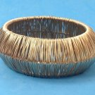 "BIG BOLD GOLD TONE BANGLE BRACELET @ 1 1/2"" THICK X 2 3/4"" INSIDE DIAMETER- NICE"